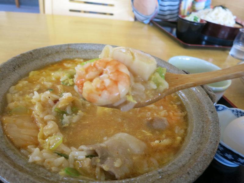 お昼の定番、温泉閣の海鮮キムチ雑炊