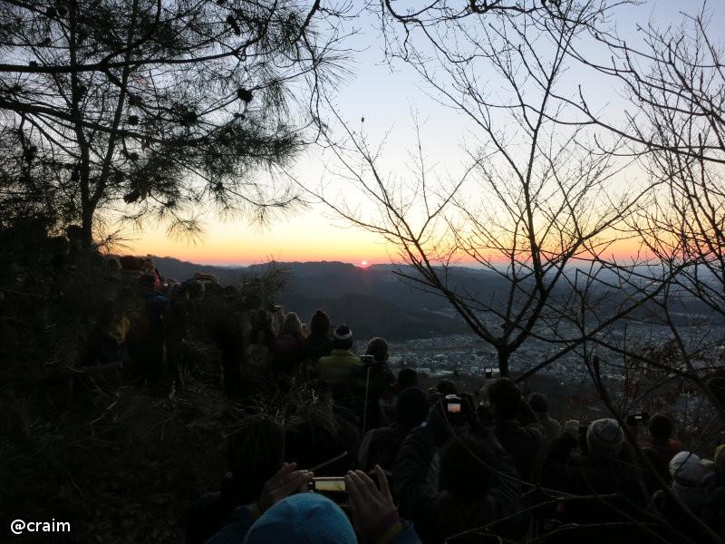 吾妻山山頂で初日の出を拝む人々。